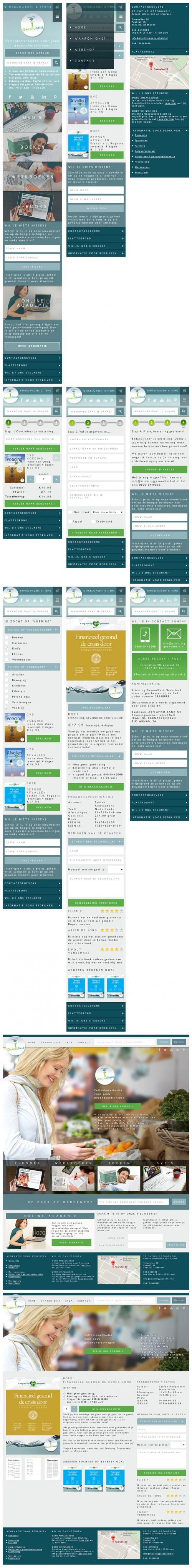 De ontwerpen voor de restyling van de Stichting Gezondheid consumentenwebsite